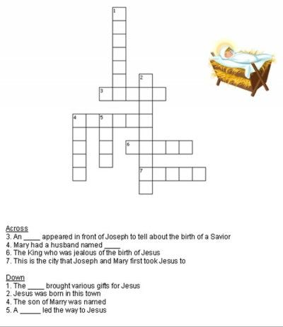 Kids Bible Worksheets-Free, Printable Birth of Jesus Christmas Crossword Puzzle