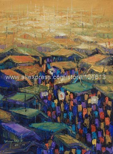 Pintura expresionista africana Fine Art Market Center hechos a mano Ghana pinturas al óleo artes y oficios pintura moderna oficina(China (Mainland))