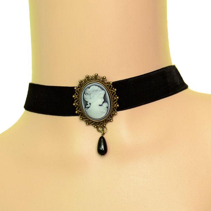 Fashion Black Velvet Choker Necklace For Women Vintage Gothic Resin Beauty Princess Portrait Chokers Bijoux Femme