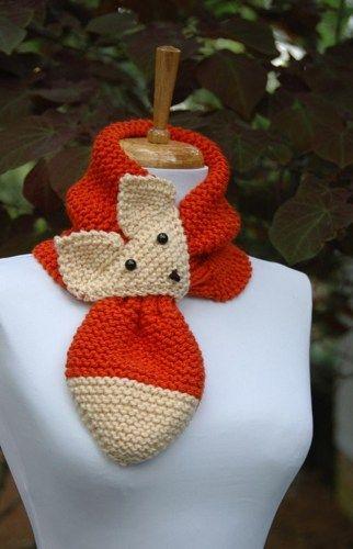 Knit Fox Scarf, Keyhole Scarf, Adjustable, Hand Knit, Neck Scarf