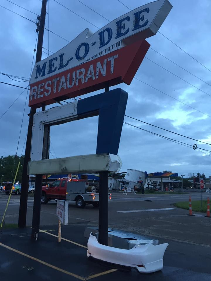 PARK LAYNE, OHIO: The Mel-O-Dee Diner sign on the morning of May 25th, 2017 after the now famous tornado that had struck the area the night before. (Contributing Photographer: Gabrielle Enright)