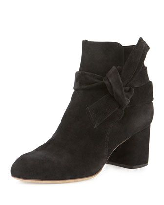 Dalia Suede Ankle-Tie Bootie, Black by Rag