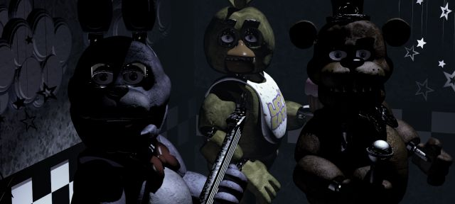 13 Rare Five Nights at Freddy's Screens You May Not Have Seen - Five Nights at Freddy's // The bots all looking at the camera (Cam 1A)