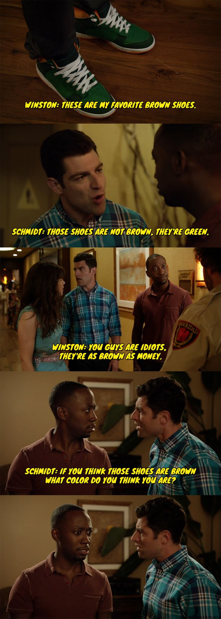"Winston from New Girl discovers that he is color blind. ""They're as brown as money""--Love this scene :))"