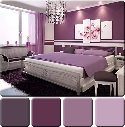 Dynamic purples merge to create a sophisticated, monochromatic bedroom.  Varying shades and tints of purple add interest, and the vivid purple accent wall acts as a focal point for the room.