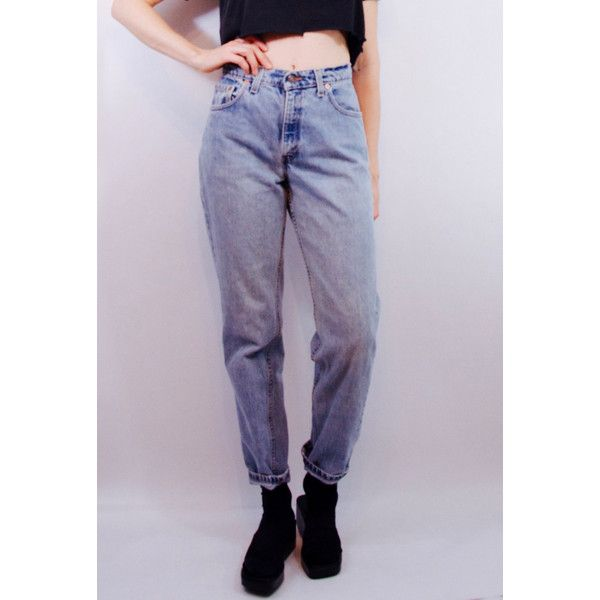 rad 90s vintage LEVI'S 550 medium wash denim jeans SZ 10/30 90s... ($68) ❤ liked on Polyvore featuring jeans, levi jeans, boyfriend fit jeans, loose fit boyfriend jeans, loose fit jeans and levi's boyfriend jeans