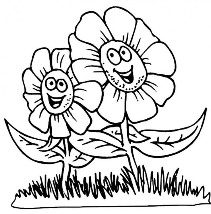 happy flower coloring pages - Drawing For Colouring