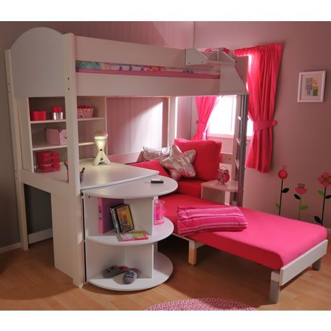 Pink Futon Bunk Bed with Desk Design Ideas - when ave is a teen