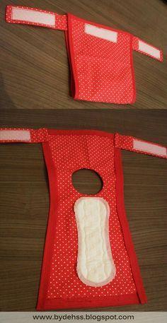 ♥ Dog Stuff ♥  DIY doggie diaper idea