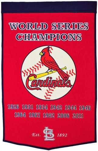 St. Louis Cardinals Winning Streak Dynasty Banner - Large 38x24 banner that lists Cardinals World Series years - Embroidery and applique detail on wool blend felt