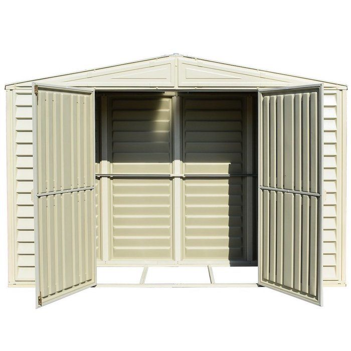 Woodbridge 10 5 Ft W X 2 8 Ft D Plastic Vinyl Storage Sheds Shed Plans Wood Bridge