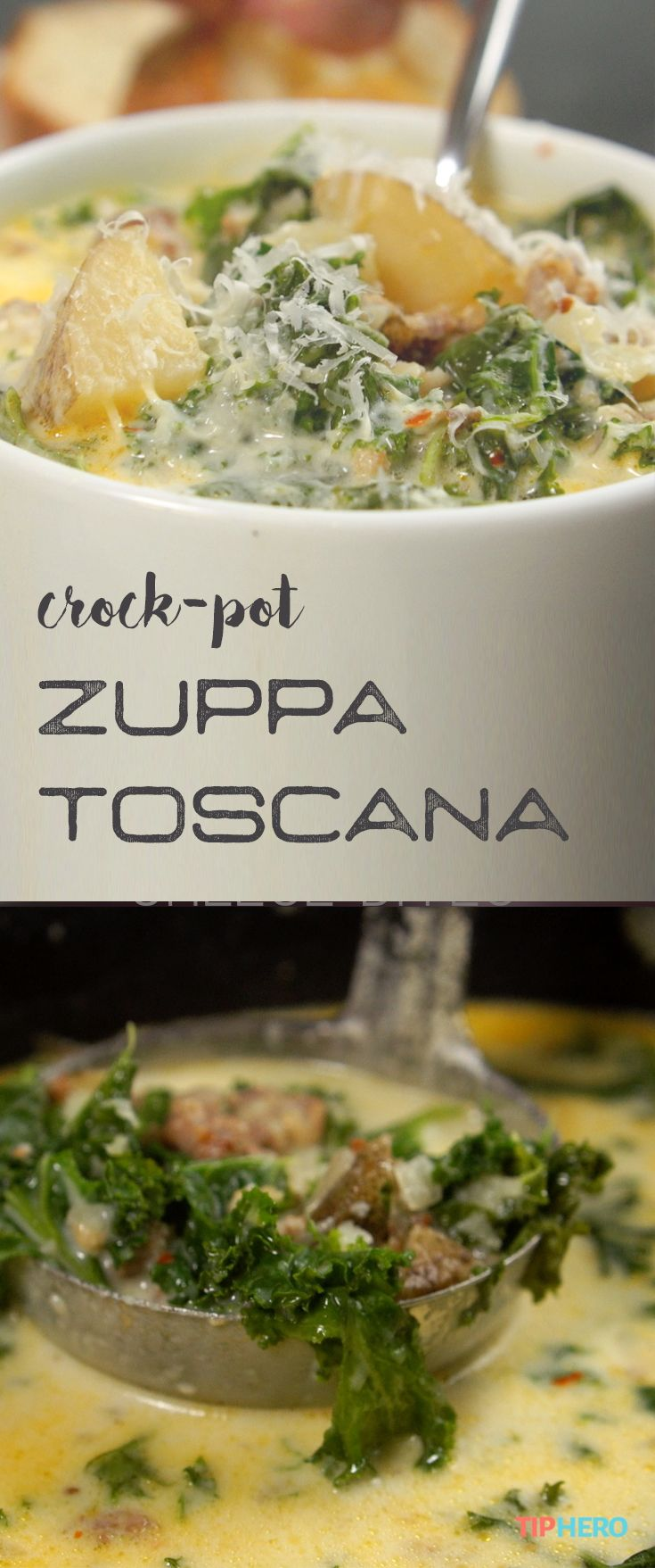 Crock-Pot Zuppa Toscana Recipe | Craving a super rich, potato and sausage soup? Pull out the slow-cooker and fire up this delicious Zuppa Toscana. It's easy to make and SO satisfying. Click for the recipe and how-to video.  #soups #stews #easymeals #dinnertime #lunchtime