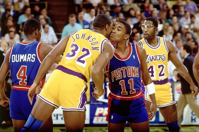 Isiah Thomas and Magic Johnson - The Kiss - http://www.crispculture.com: The Kiss, Favorite Athletic, Nba, Magic Johnson, Detroit Pistons, The Lakers Angel, Schools Hoop, Basketb, Isiah Thomas