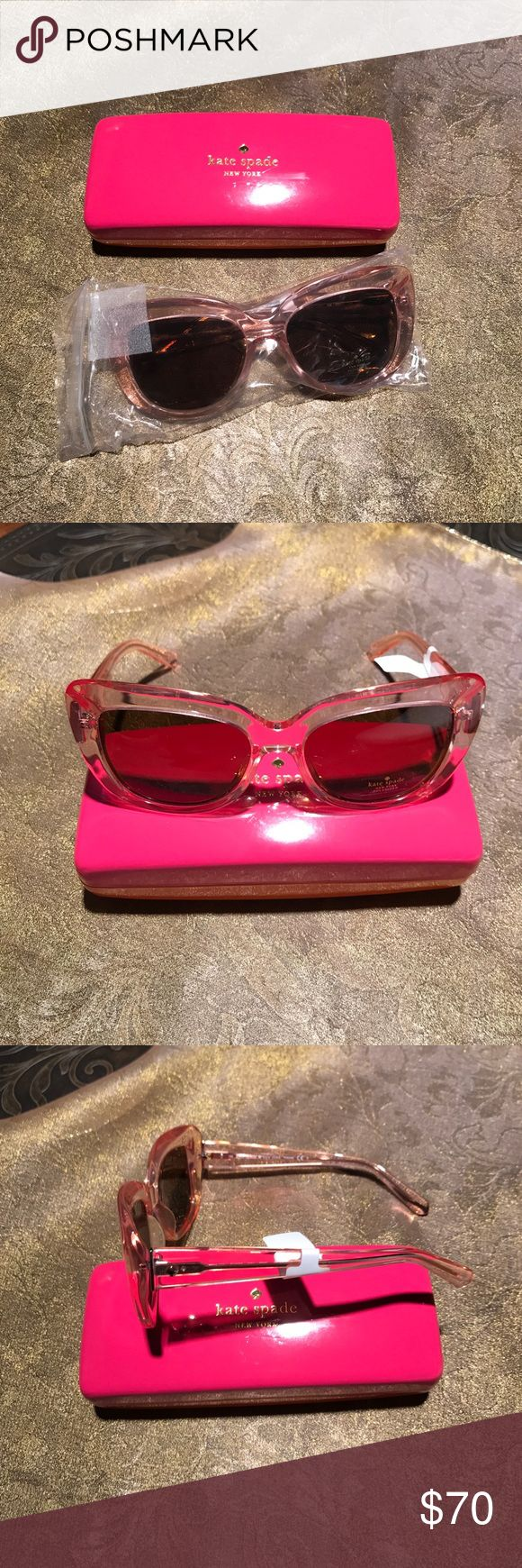 Kate Spade Sunglasses Kate Spade Cateye Sunglasses. New in original Box with Cleaning cloth   Never worn. Clear pink amber color frame. Thank you 😊 kate spade Accessories Sunglasses
