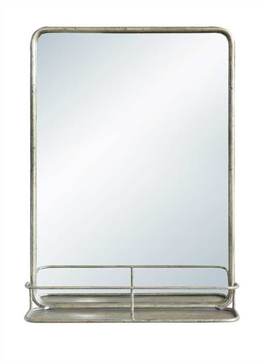 antique nickel finish metal pharmacy mirror with shelf