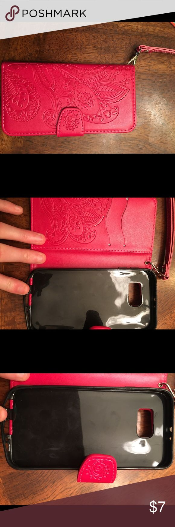 Brand new hot pink wallet phone case Brand new galaxy s6 hot pink wallet phone case Accessories Phone Cases