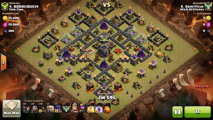 Attacker TH9: 1 Level 4 Golem, 1 Level 5 Golem, 12 Level 5 Wizard, 3 Level 2 Witch, 8 Level 5 Wall Breaker, 18 Level 5 Hog Rider, Level 20 Archer Queen, Level 20 Barbarian King, 1 Level 2 Poison Spell, 1 Level 5 Rage Spell, 3 Level 6 Healing Spell Defender TH9: Level 13 Archer Queen, Level 15 Barbarian King, Rank 4/20