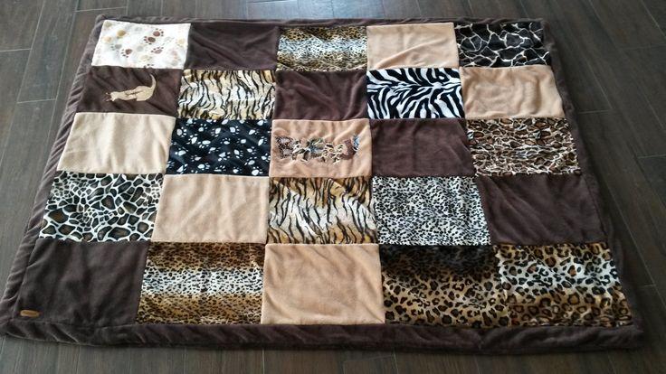 Decke Patchwork aus Fleece und Tierfellimitaten