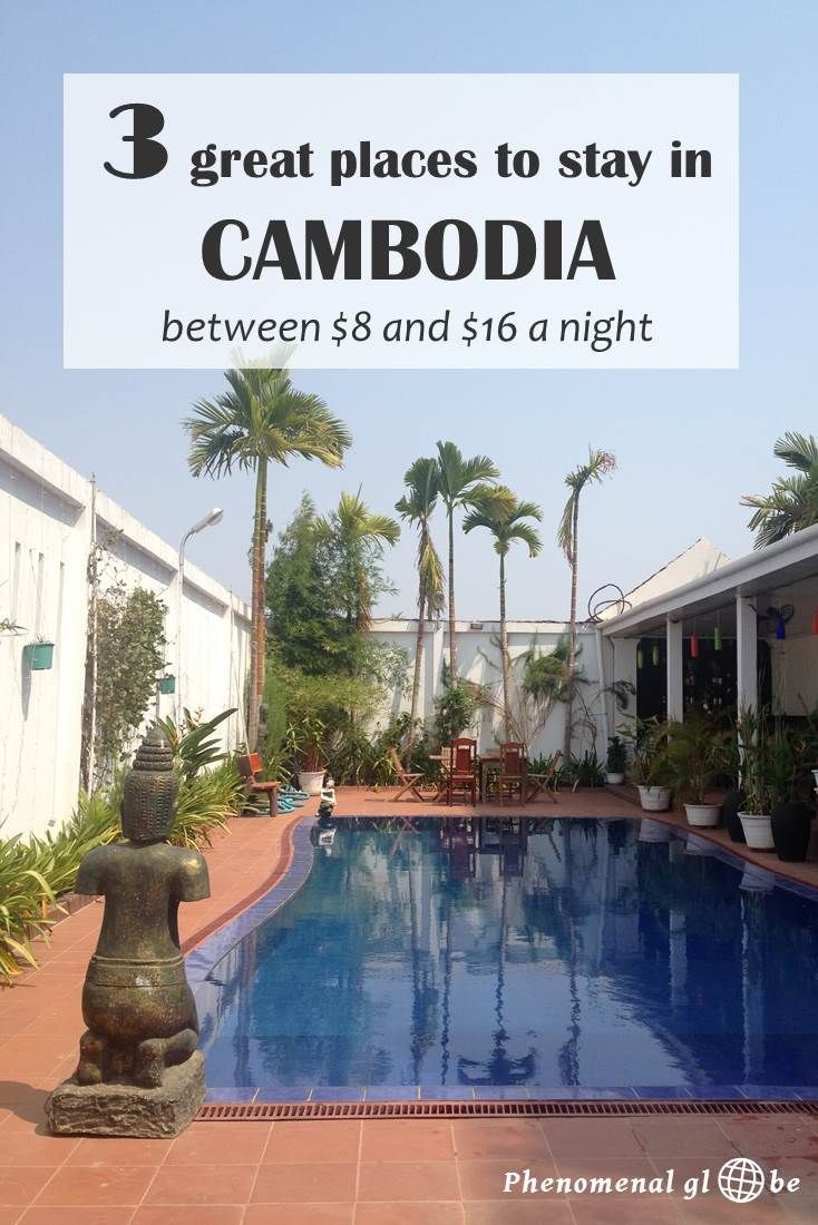 Looking for a place to stay in Cambodia? I stayed at three great hotels: 1 in Kampot, 1 in Phnom Penh and 1 in Siem Riep. Prices between $8 and $16 per night.