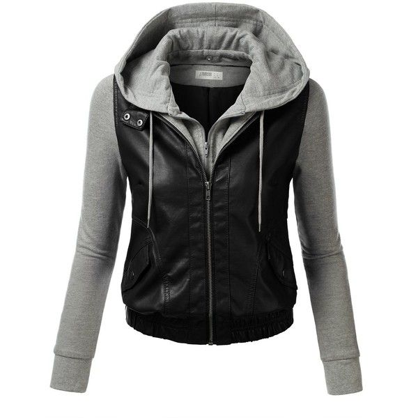 J.TOMSON Womens Mixed Fabric Faux Leather PU Zip-Up Hooded Bomber Moto... found on Polyvore