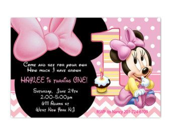 Items similar to Pink Baby Minnie Mouse Inspired - Handmade Invitation, Modern and Elegant- Birthday or Baby Shower on Etsy