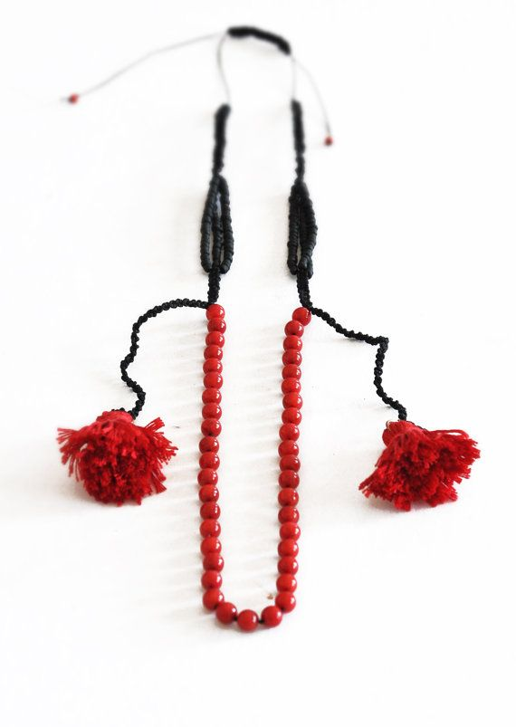 Coral Stone Necklace  Red Beaded Necklace  Semi by stellacreations