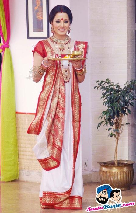 Indian sari worn the Bengali way                                                                                                                                                                                 More
