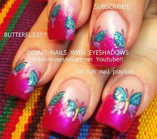 Nail-Art von Robin Moses: Mac reflektiert ein sehr rosafarbenes Farbfeld, wie man Schmetterlinge, Schmetterlingsnägel, blauen Schmetterlingsnagel, …