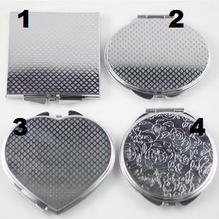 Shaped textured dual mirror metal compact great for diy bling deco  | chriszcoolstuff - Craft Supplies on ArtFire