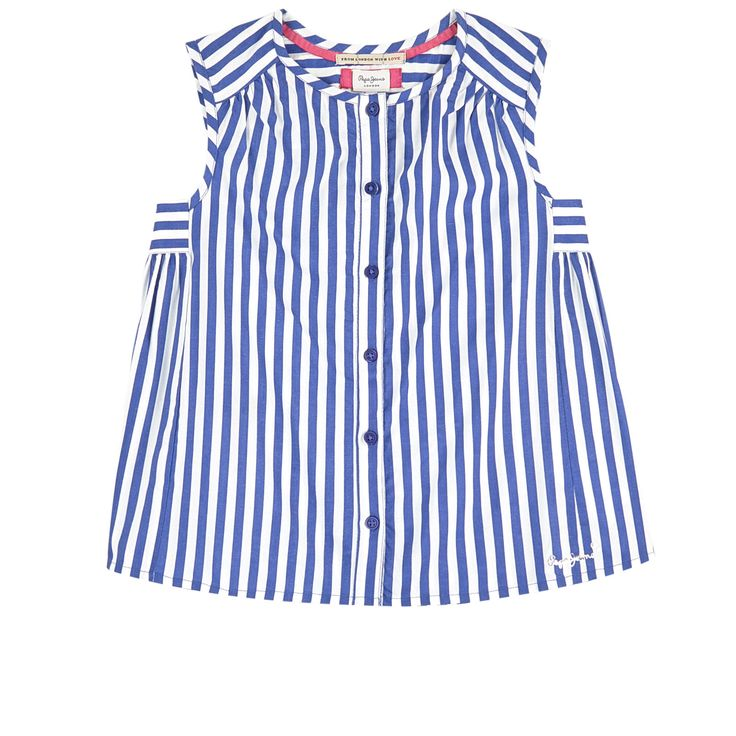 Printed viscose Pleasant to wear Light item Crew neck Sleeveless Buttons on the front Two-colored stripes Brand print - $ 54