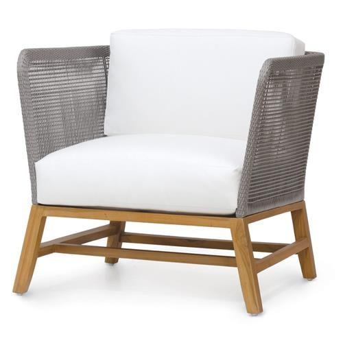 Serena Modern Grey Rope Woven Teak Outdoor Lounge Chair - Salt | Kathy Kuo Home