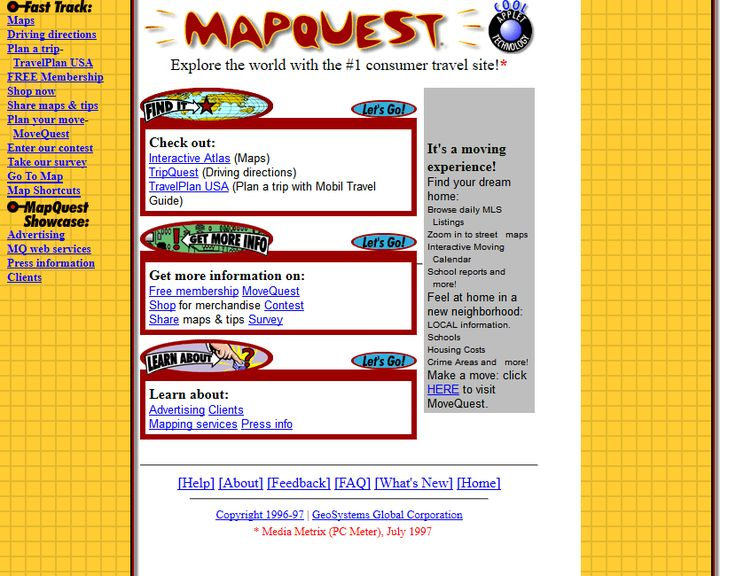MapQuest webiste 1997