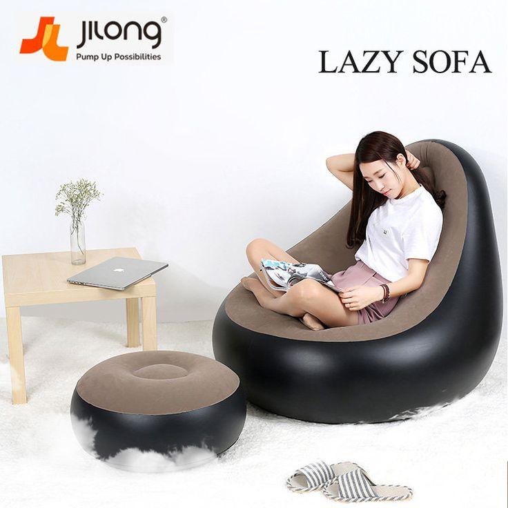 JILONG Portable Creative PVC Fast Inflatable Sagging Sofa Cushion Lazy Chair Sleep Bed Home Garden Furniture