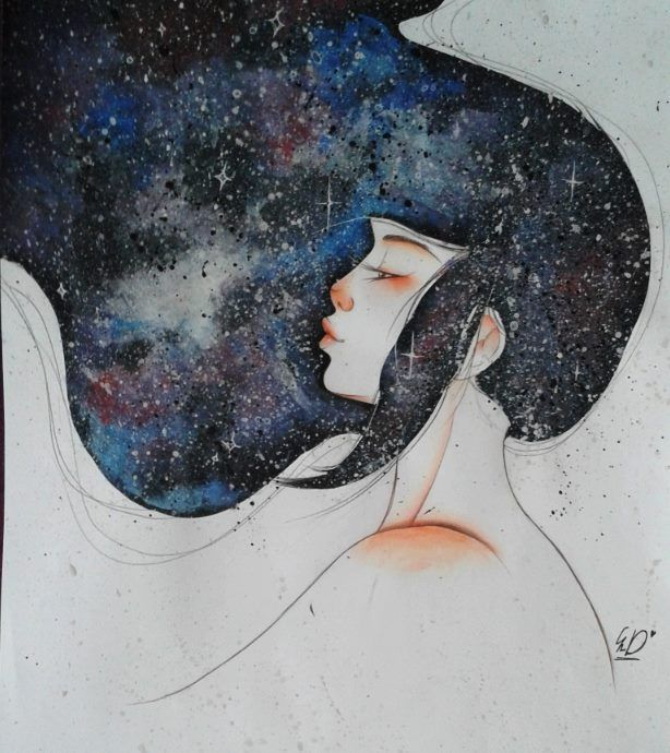 my painting in my new style... spacehair *q*... it's Freedom ^^