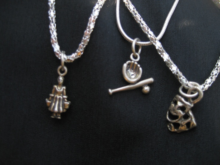 Sterling Silver chain with Tibetin  silver charm, my fav is the baseball bat glove and ball, whats yours?: Sterling Silver Chains, Tibetin Silver, Silver Charms