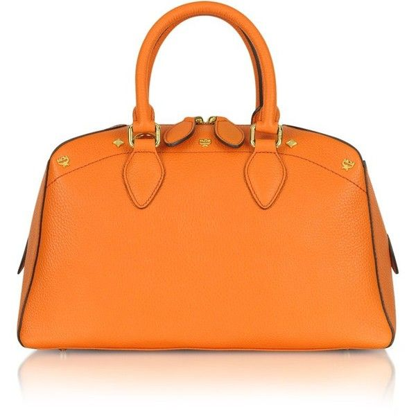 MCM First Lady - Small Leather Boston Bag ($480) ❤ liked on Polyvore featuring bags, handbags, shoulder bags, orange, leather shoulder handbags, shoulder strap bag, man bag, leather hand bags and hand bags