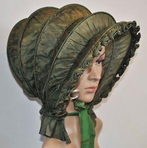 Antiguo-Sombrero-c1800-039-S-Woman-039-s-Plegable-Seda-Calesa-Bonnet-Museo-de-adhesion