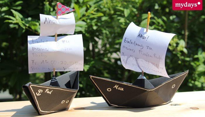Einladungen Kindergeburtstag für eine Piratenparty.