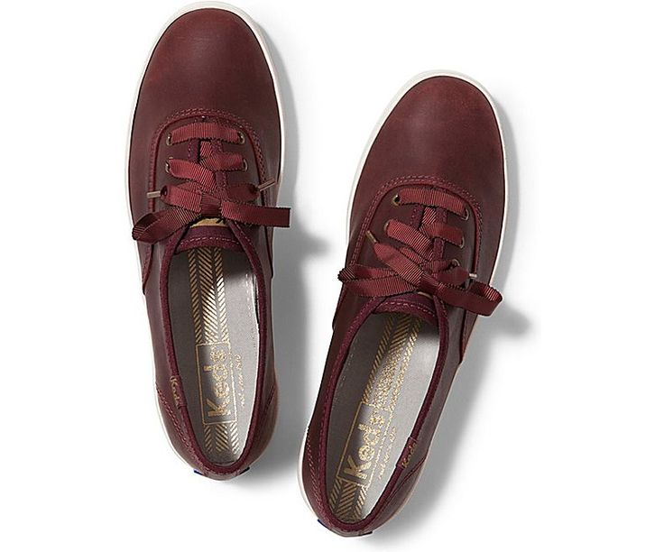 Champion Pull Up Leather - Burgundy Leather | Keds