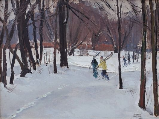 "'Quiet Day, February - Norval, Ontario, 1953' by John Adrian Darley Dingle, oil on panel, 12"" x 16"", at Consignor.ca"