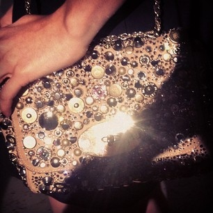 All in the details! We're loving April Rose Pengilly's bedazzled Mulberry bag.
