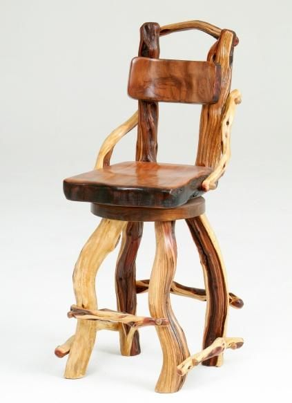 There is nothing like the character of colorful and twisty juniper logs.  Each natural branch has its own personality.  Each bar stool is handcrafted one at a time by the artisans of Woodland Creek Furniture.  The seat and black are solid redwood, and the seat swivels.  This rustic pub stool is shown without arms, but