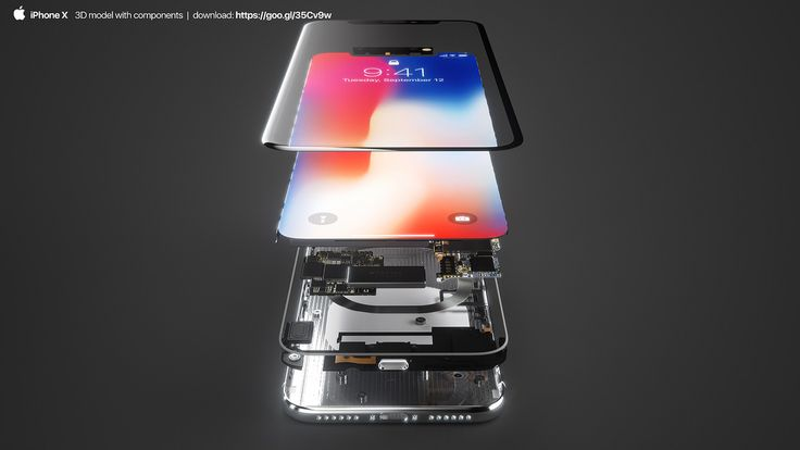iPhone X 3D model with components!