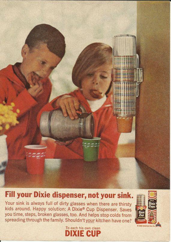 Dixie Cup Dispenser Original 1963 Vintage Ad W Color