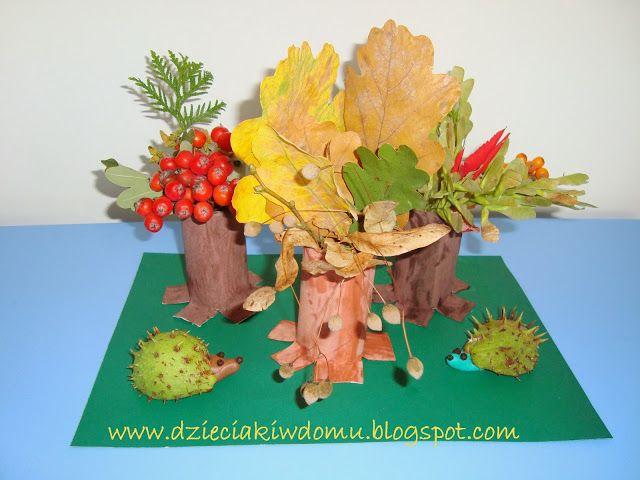 Fall craft made from toilet paper rolls and leaves  / Jesienna dekoracja z rolek i liści - praca techniczna dla dzieci