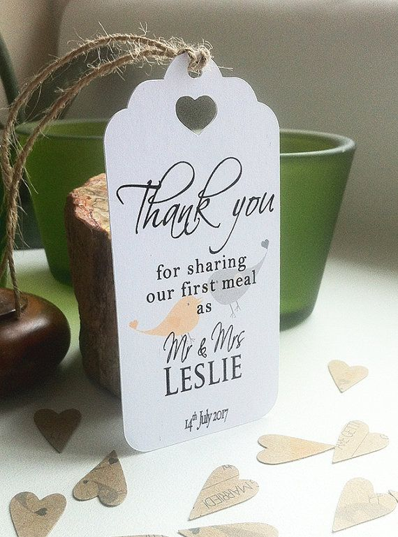 Thank You For Sharing Our First Meal Personalised Wedding Card Napkin Tie Plate Tags - Contemporary Lovebirds Sm White Card