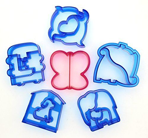 Set of 6 - ZICOME SWEET SPIRITS Day of Sandwich Cutter Adorable Animal Shapes for Kids - Dinosaur, Dolphin, Elephant, Dog, Butterfly & Train - More Fun, Toy Kids Set - Make Kids Enjoy Lunchtime, http://www.amazon.com/dp/B01HFRMZXK/ref=cm_sw_r_pi_awdm_x_HuQhyb8C6SB2G