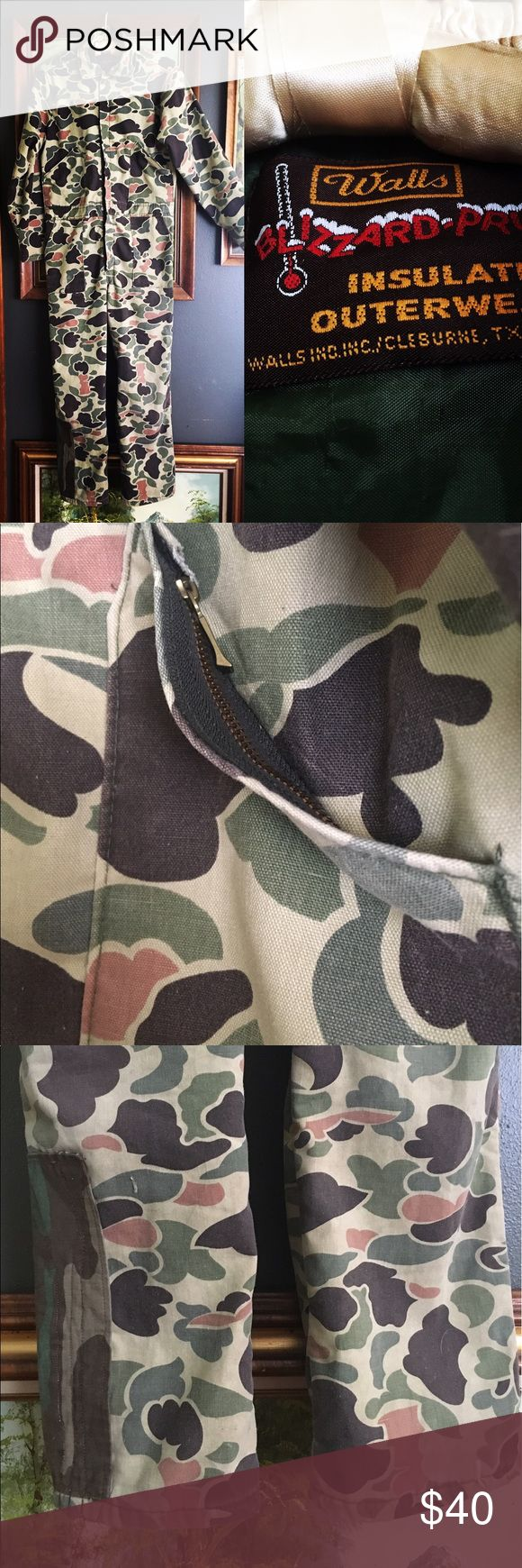 Vintage Hunting Camping Coveralls Camouflage This is made for young adult male, some patches, a little fraying on inner seams, super cute fit a size S or M, his or hers. Walls Jackets & Coats Utility Jackets