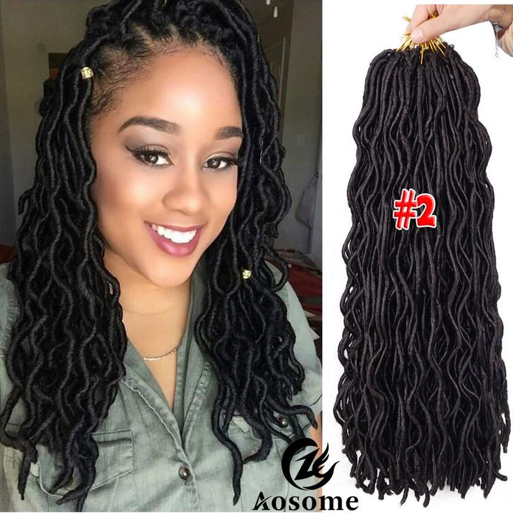 "20"" Freetress Wavy Faux Locs Hair Extensions Goddess Crochet Dreadlocks 3packs #Unbranded #Braid"