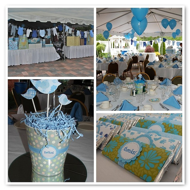 Twin Boy Baby Shower - bird theme, clothes line, favors